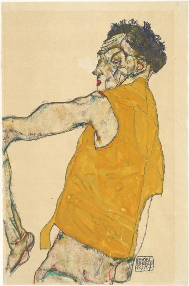 autorretrato con chaleco amarillo