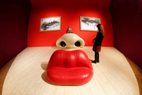 A visitor looks at the Rita Mae West room by Salvador Dali
