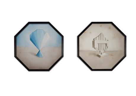 Amadeo Azar - Sin tiulo (monumento 9 y 14) - 2012 y 2013 - acuarela s papel marco octogonal 44x44
