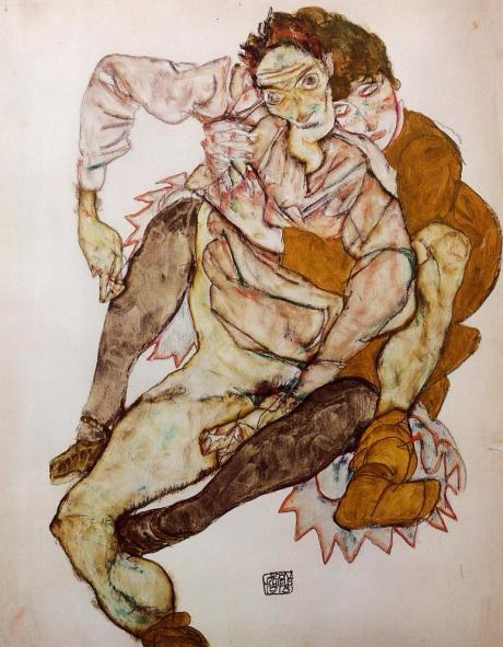 seated-couple-egon-and-edith-schiele-1915